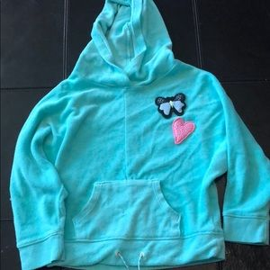 Green terry cloth hoodie